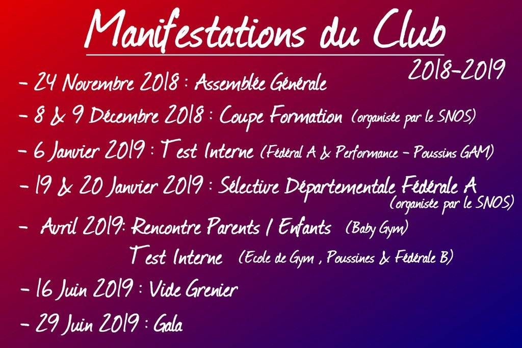 Manifestations du club